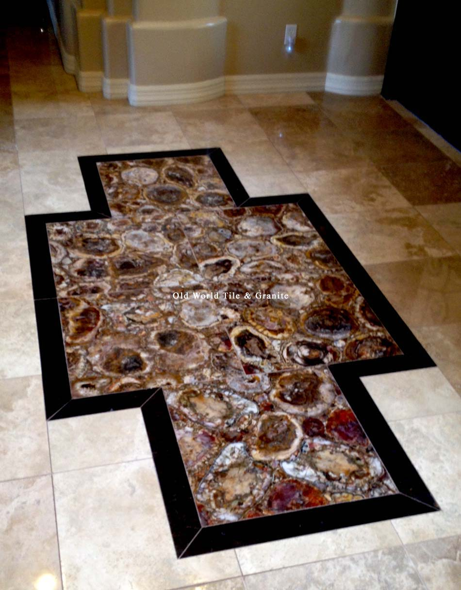 Gemstone Tiles On A Luxury Front Foyer